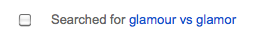 Screenshot: Searched for glamour vs glamor