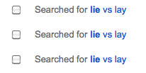 Screenshot: Searched for lie vs lay (three times)